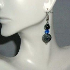 Designs by Suni Jewelry - ❤️ NEW Smokey Crackle Blue Crystal Dangle Earrings